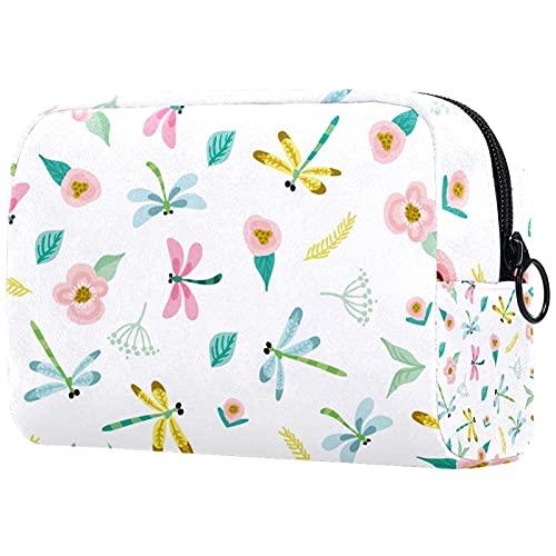 Estuche de viaje para maquillaje de tren de maquillaje, bolsa de almacenamiento portátil para cosméticos, brochas de maquillaje, accesorios de joyería de acuarela, libélula, hojas florales