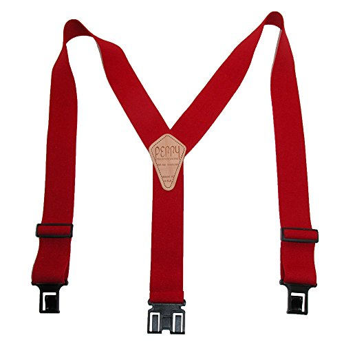 Perry Suspender Men's 2' Elastic Original Adjustable Suspenders (Red, Big and Tall)