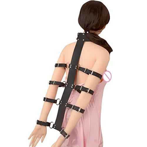WRZHL Arm zurück binden einstellbare Leder Halsband und Handschellen Bonda'ge Spielzeug Metal Lock Paare Trainingsgerät Tshirt