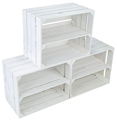 Kistenkolli Altes Land 3er Set Neue weiße Obstkiste Johanna/Schuhregal Ablageregal Beistelltisch Schuhbox Weinkiste Apfelkiste Holzkiste Regalkiste Ablagekiste (3er Set weiß LÄNGS)