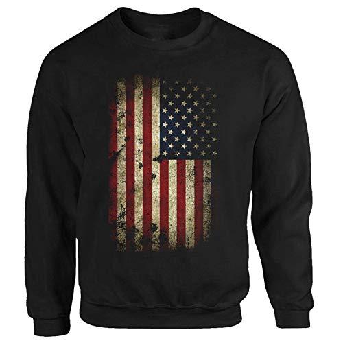 Tex-Ha USA Felpa Bandiera America ALaska Texas culto Nero XXL