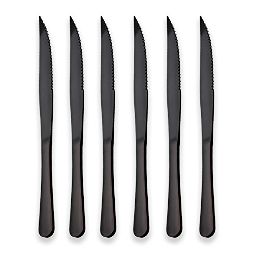 Berglander Black Titanium Plating Stainless Steel Steak Knives Heavy-Duty Stainless Steel Steak Knife Set of 6 for Chefs Commercial Kitchen Great For BBQ Weddings Dinners Parties All Homes & Kitchens