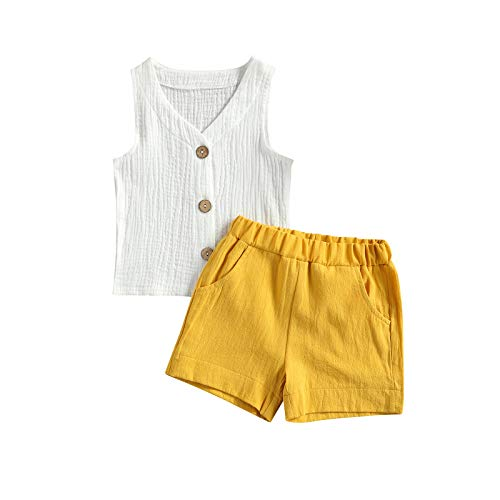 Pantalones cortos de verano para niños pequeños y bebés, sin mangas, con botones, a rayas verticales, color sólido, 2 unidades