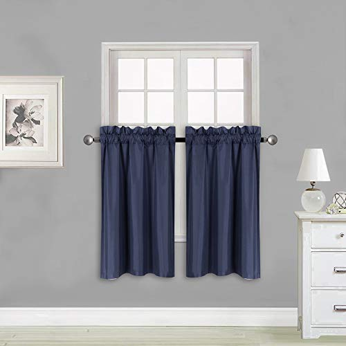Elegant Home 2 Panels Tiers Small Window Treatment Curtain Insulated Blackout Drape Short Panel 28' W X 36' L Each for Kitchen Bathroom or Any Small Window # R5 (Navy Blue)
