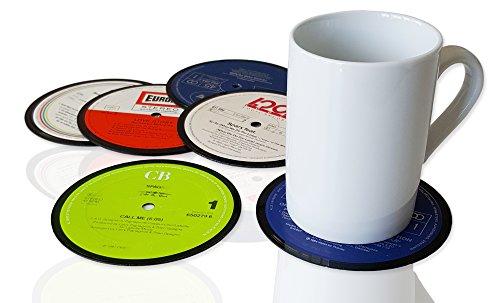 JamOnMedia 6 er Set Retro Vinyluntersetzer, Vintage Glasuntersetzer BZW. Bierdeckel für Getränke aus echten Vinyl-Schallplatten, Untersetzer für Gläser und Tassen Ø 11cm, Upcycling by