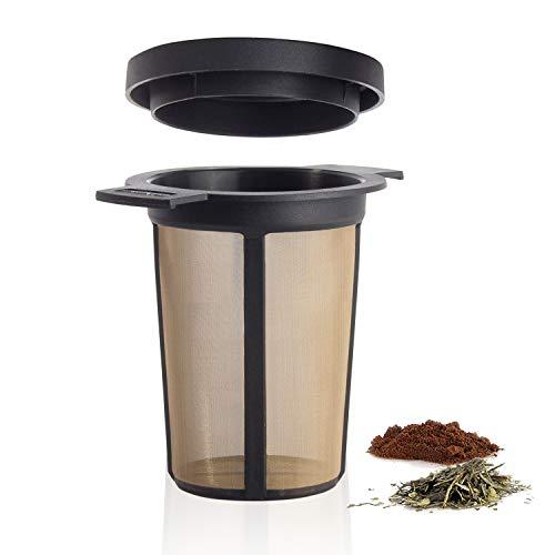 Finum BREWING BASKET Dauerfilter für Tee und Kaffee - Permanentfilter mit Gewebe aus Edelstahl - Teefilter und Kaffeefilter - Tassen Filteraufsatz Größe L, schwarz