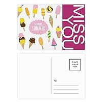 多様な甘い夏のアイスクリーム ポストカードセットサンクスカード郵送側20個ミス