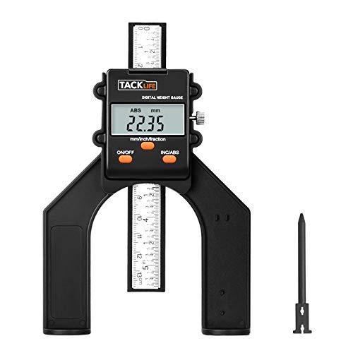 Tiefenmesser, 0~80mm Digitaler Profiltiefenmesser, Höhenmesser Oberfräse, Tiefenlehre mit Magnetischen Füßen für Holzbearbeitung und Maschinenbau-Tacklife MDG01