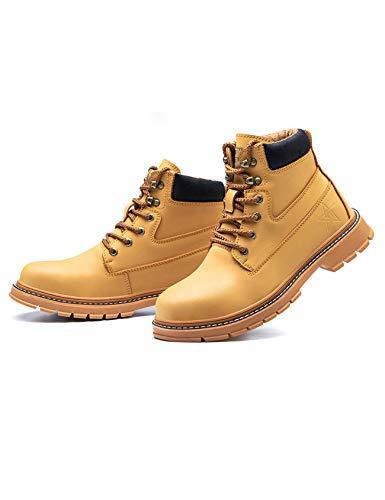 Letuwj Botas de trabajo de los hombres zapatos industriales impermeables del dedo del, color Marrón, talla 47 EU