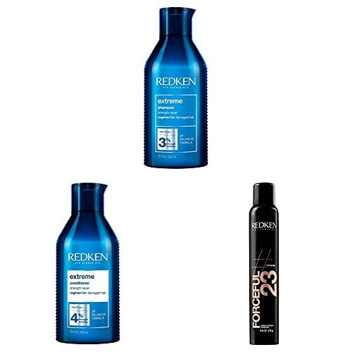 Redken Extreme Haarpflege & Styling Set |Shampoo, Conditioner für geschädigtes Haar & Haarspray für ultimative Struktur ohne zu verkleben
