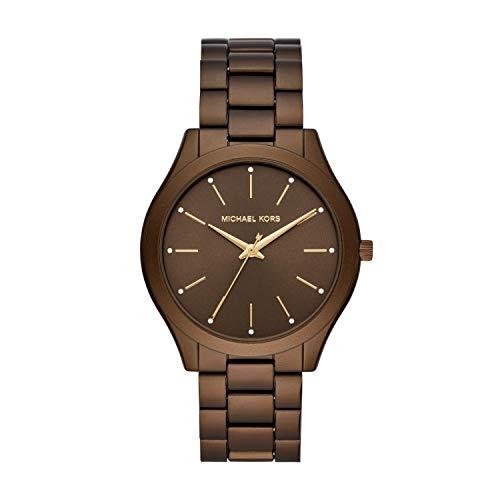 Michael Kors Women's Slim Runway Quartz Watch with Metal Strap, Brown, 20 (Model: MK4508)