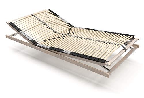i-flair 7 Zonen Lattenrost, 42 Leisten, Kopf- und Fussteil verstellbar mit Mittelgurt, 180 kg - (140cm x 200cm)