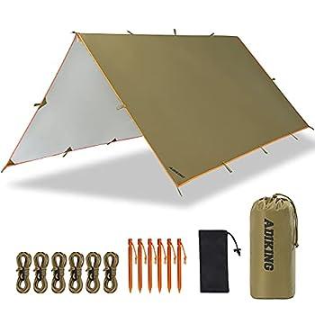 ADIKING Bâche Anti-Pluie 3,2m X 3m Toile de Tente Imperméable Bâche de Camping Portable Abri de Randonnée Anti UV Léger pour Camping Activités de Plein Air (Marron)