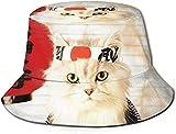 N/A NA Bucket Hat Sushi Gatto Giapponese Carino Divertente Gattino Sole Pescatore Cappello Outdoor Protezione UV Cappello Pieghevole Leggero Traspirante cap Nero