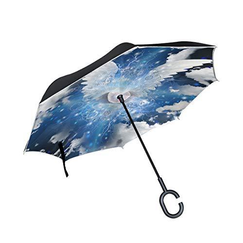 Mnsruu inversé parapluies ailé œil Double Couche Pliant Parapluie Coupe-Vent Anti-UV Coupe-Vent Voyage Parapluie pour Homme et Femme