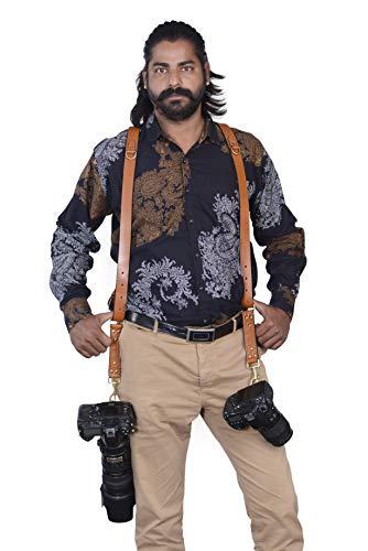 Doppia fotocamera multipla Beige Vera Pelle Imbracatura Tracolla a Mano in Inghilterra