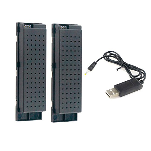 Amiley 2pcs 3.7V 500MAH Lipo Battery for Eachine E56 JJRC H47 RC Quadcopter+ USB Charge (Black)