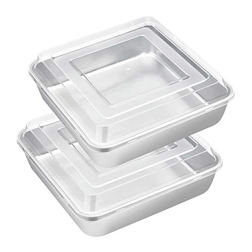 8 x 8-Inch Baking Pan with lid, E-far Square Cake Brownie Baking Pans Stainless Steel Bakeware Set of 2, Non-toxic & Healthy, Easy Clean & Dishwasher Safe - 4 Pieces(2 Pans + 2 Lids)