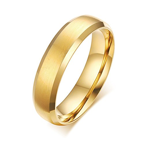 Zealmer Men 16K Gold Plated 6mm Titanium Steel Wedding Band Ring Size 9