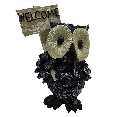 VHGYU Panneau de Bienvenue de Jardin Résine Chouette Sculpture animalière Bienvenue Ornements Modèles Antique Bienvenue Nouveauté Chic Décor Amitié Cadeau (Color : Black, Size : 10X10X16cm)