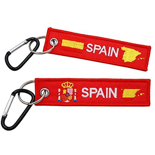 Parche bordado de la bandera de España personalizada Llavero con nombre de texto militar personalizado