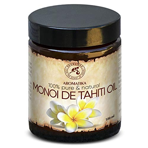 Aceite de Monoi de Tahiti 100ml - 100% Puro y Natural - Botella de Cristal - Cuidado Intensivo para el Rostro - Cuerpo - Cabello - Piel - Cuidado Corporal - Aceite de Monoi
