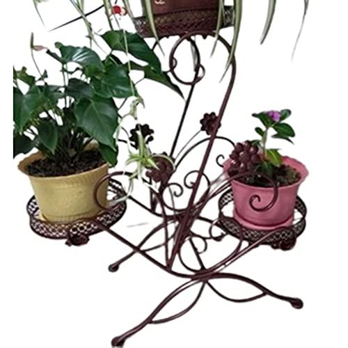 WHFY BlumenstäNder Blumenregal 3 Tiered Scroll Dekorativ, Metall Garten Patio Stehende Pflanze Blumentopf Rack Display StäNder Patio Garten Ecke Balkon Wohnzimmer
