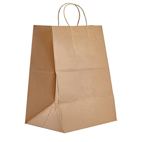 PTP - 12' x 9' x 15.75' Natural Kraft Paper Gift Tote Bags - 200 count   Perfect for Birthdays, Weddings, Holidays and All Occasions   White or Natural Colors   Multiple Sizes