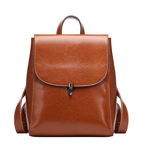 Heshe Women's Leather Backpack Casual Style Flap Backpacks Daypack for Ladies (standard size, Brown)