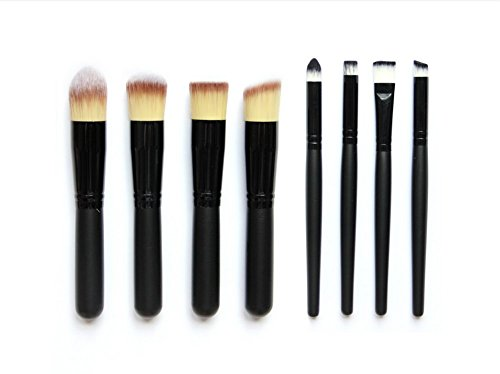 aloiness Pinceaux de Maquillage Synthétique, 8Pcs Fard à Paupières Kit Cosmétique Brush Eyebrow Shadow Blush Cosmétique Professionnel Kits