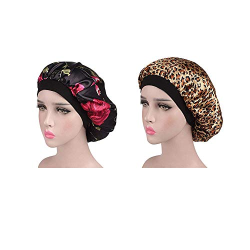 2 Stück Weiche Satin Schlafmütze Wide Band Salon Bonnet Silk Nacht Schlaf Hut Haarausfall Kappe für Frauen,Geeignet für Haarausfall, Haarpflege, Make up, Schlaf, Chemotherapie