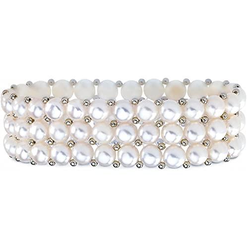 925 plata de ley cultivada en agua dulce perla blanca 3 filas estiramiento pulsera joyería regalos para las mujeres