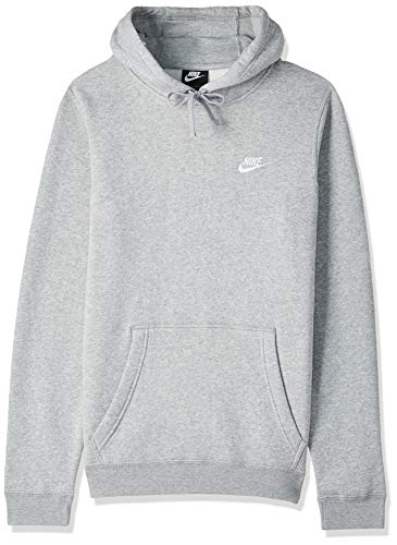 Nike Herren M Nsw Hoodie Po Flc Club Kapuzenpullover, Grau (Dark Grey Heather/Dark Grey Heather/White), S