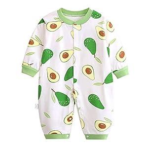 Baogaier Pelele Bebé Niños Mameluco Algodon Pijama Sleepsuit Recien Nacido Mamelucos Manga Larga Mono Caricatura Trajes Pijamas Estampado Verde Aguacate Unisexo Infante 6-9 Meses