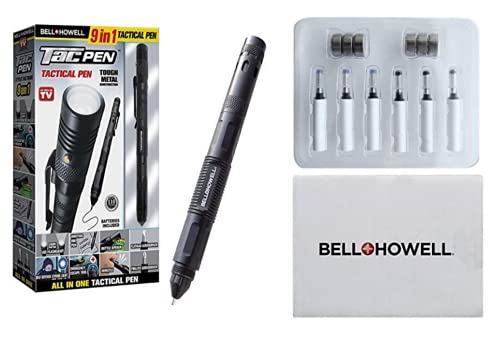 Bell+Howell Tac Pen – Multitool - Aluminum – Outdoor and Indoor Tactical Gear Bundled with Refills Replacement Kit For Self Defense Military Survival and Emergency Kit As Seen On TV