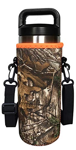 Koverz 24-30oz 750ml Water Bottle Carrier with Shoulder Strap, Water Bottle Holder - Realtree Camo
