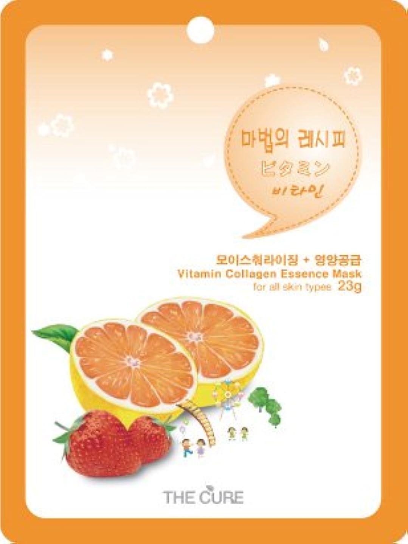 サワー緯度討論ビタミン コラーゲン エッセンス マスク THE CURE シート パック 10枚セット 韓国 コスメ 乾燥肌 オイリー肌 混合肌