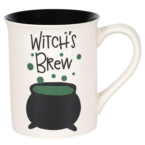 Enesco Our Name is Mud Halloween Witch's Brew Cauldron Glitter Coffee Mug, 16 Ounce, Multicolor