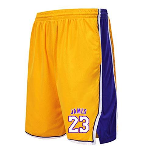 Basketballhose Lakers 23# James Sports Shorts Fitness Running Trainingshose Lose Schnelltrocknende Overknee Five Pants Yellow-M