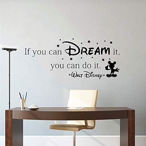 Als je kunt dromen komen waar dan kunt u Inspirationele citaten muur Stickers Home Art Vinyl muurstickers doen43CM X 28CM