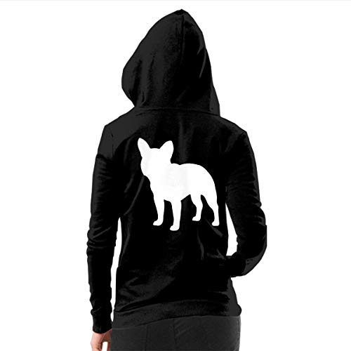 Keceur French Bulldog Women's Hoodies Zip Up Drawstring Hooded Sweatshirt with Pockets for Indoor Outdoor Activities Walking, Hiking, Camping, Traveling, M