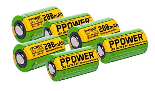 PPOWER 3V capacidad real 200mAh CR2 15270 15266 baterías recargables LiFePO4 para cámara Polariod, telémetro de golf Bushnell