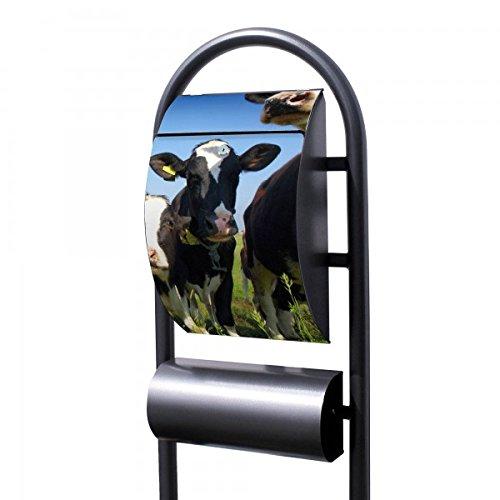 Banjado Briefkasten Hammerschlag-Optik mit Ständer | Postkasten freistehend 150x44x14cm | Standbriefkasten mit Zeitungsfach Motiv Kühe