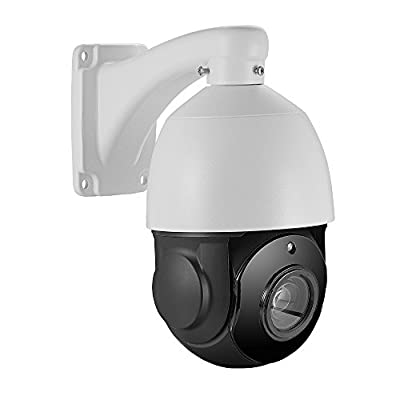 Outdoor 5MP PTZ IP POE Dome Security Camera 30x Optical Zoom Pan Tilt 250FT IR Night Vision Motion Detection Remote View Onvif RTSP Audio Support 4.5inch