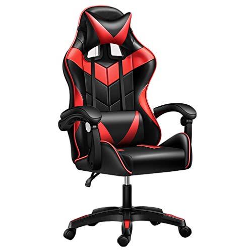 LiKin Silla Gaming Profesional, Sillas Ergonómica de Escritorio Ajustable Giratoria Silla de Respaldo Alto para Adolescentes Y Adultos (Color : Red-Black)