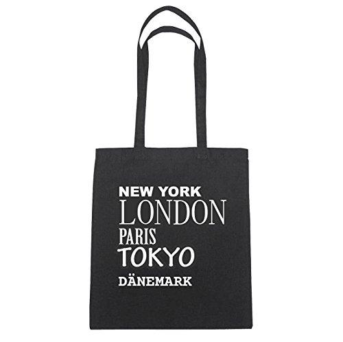 """JOllify DÃ""""NEMARK Baumwolltasche Tasche Beutel B4634black - Farbe: schwarz: New York, London, Paris, Tokyo"""