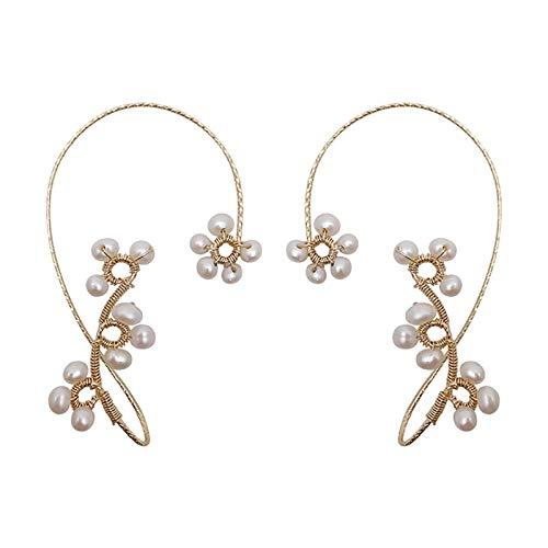 Moares 1Pc Frauen Mode Moderne Ohrring Faux Pearl Flower Nicht Durchbohrte Hängende Ohrclip Ohrring Schmuck Geschenk Weiß