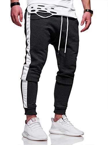 behype. Herren Lange Trainingshose Jogging-Hose Sport-Hose mit Side-Stripe 60-0351 Dunkelgrau-Weiß XL