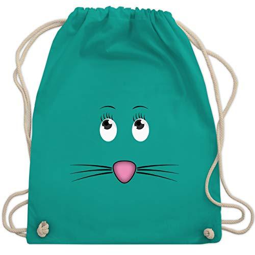 Shirtracer Sonstige Tiere - Maus Gesicht Mouse - Unisize - Türkis - turnbeutel mäuse - WM110 - Turnbeutel und Stoffbeutel aus Baumwolle