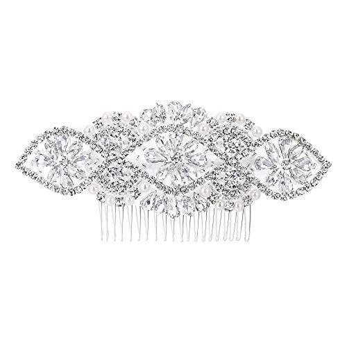 EVER FAITH Damen Haarkamm Damen österreichische Kristallcreme simulierte Perle Blumen Blume Braut Haar Kamm Klar Silber-Ton